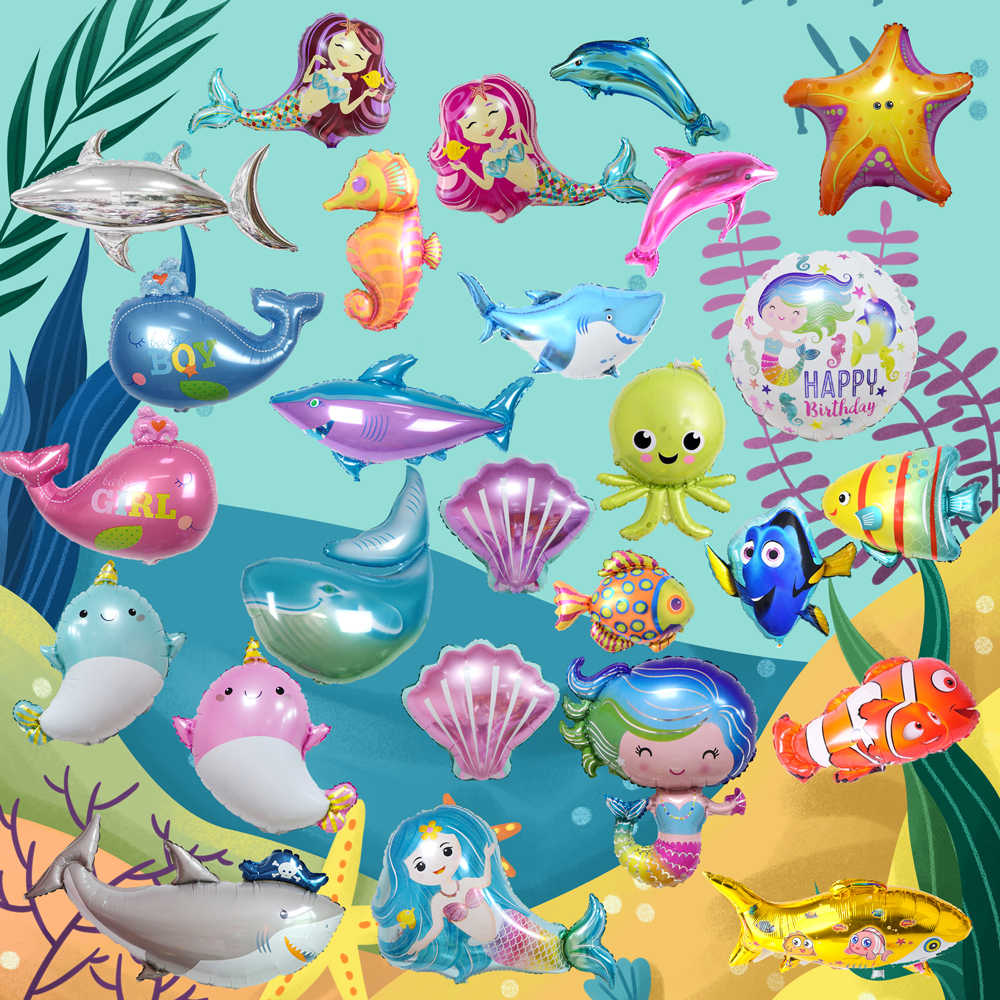 Ocean world decoration sea animal air ball holiday kids toy supplier cute fish octopus foil balloons birthday party