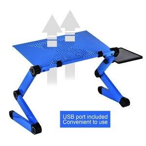 Image 4 - Portátil móvel portátil portátil mesa de pé para cama sofá portátil dobrável mesa notebook com mouse pad & ventilador de refrigeração para escritório