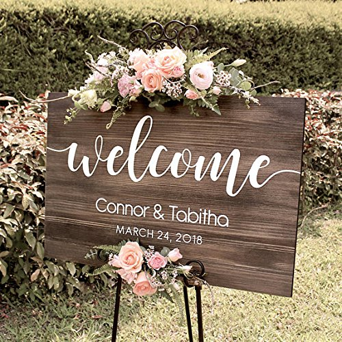 Personalized Name And Date Wedding Welcome Sign Wood, Rustic Welcome Wedding Sign For Engagement Wedding Party Entrance Signs