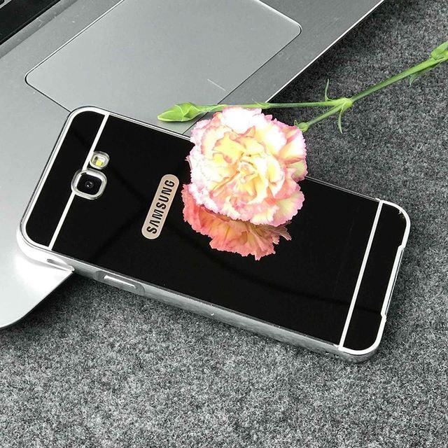 b33d81a8379 Espejo de lujo Carcasas para Samsung Galaxy J7 Prime metal aluminio Marcos  + cubierta de acrílico