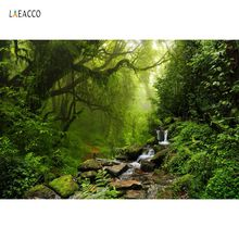 Laeacco Forest Jungle Tree Green Creek Stone Trod Natural View Photographic Backgrounds Photography Backdrops For Photo Studio