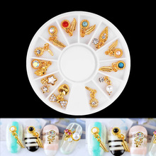 AB Transparent Clear Rhinestone Nail Decorations 1 Wheel Gold Alloy Pendant Feather Pearl DIY Charm Nail Art Jewelry Supplies new 3d charm alloy nail art rhinestone decoration wheel diy beauty nail jewelry supplies