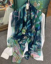 Pure Silk Chiffon Scarf Women Blue Peacock Printing Summer Large Shawls Wraps 140*140cm Handmade Hemming