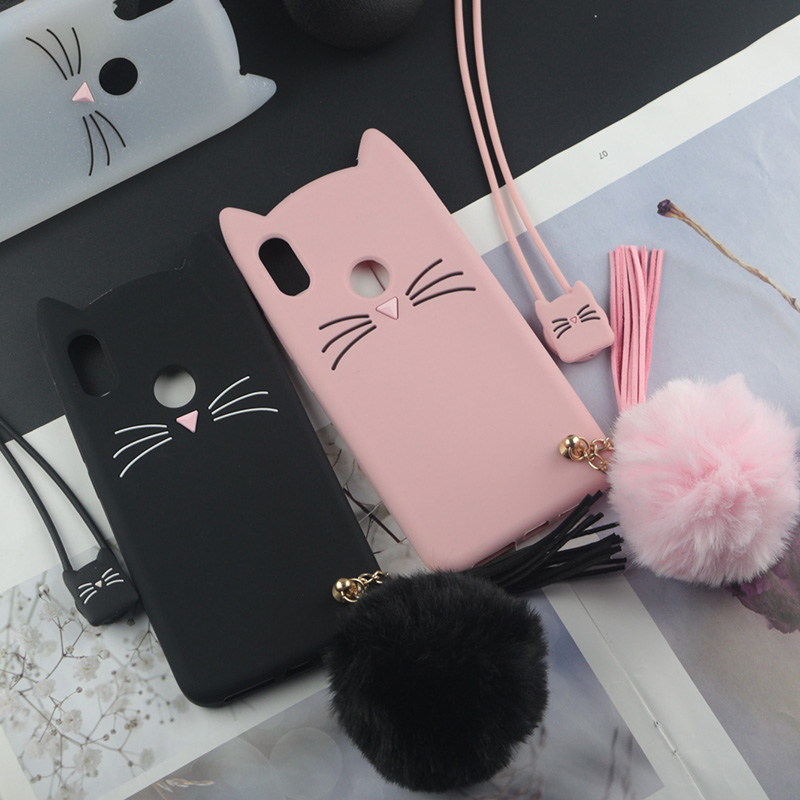 Cute 3D Cartoon Silicon <font><b>Case</b></font> for <font><b>Huawei</b></font> <font><b>Y7</b></font> <font><b>2019</b></font> Y7Pro <font><b>2019</b></font> Y7Prime <font><b>Case</b></font> Japan <font><b>Glitter</b></font> Beard Cat Lovely Ears Kitty Cover image