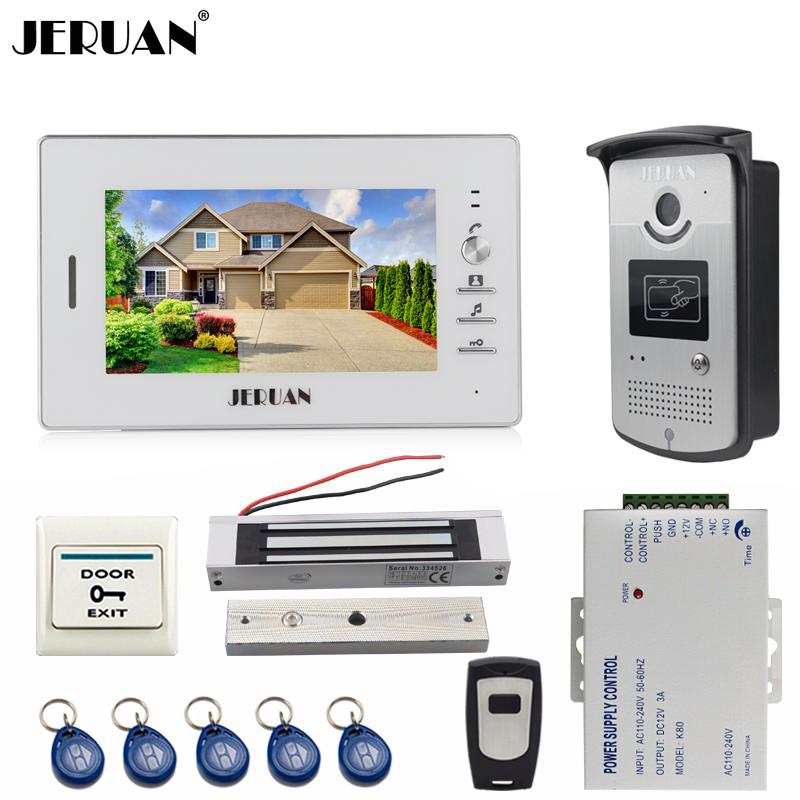 JERUAN NEW 7 inch LCD video doorphone intercom System kit 1 white monitor RFID Access Camera 180KG Magnetic lock FREE SHIPPING jeruan 8 inch lcd video doorphone recording intercom system kit new rfid waterproof touch key password keypad camera 8g sd card