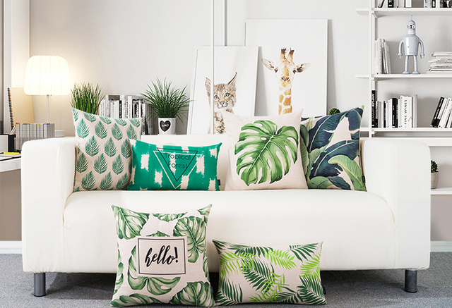 Free Shipping Gift Rainforest Tropical Monstera Banana Leaf Protea Flower Bee Pattern Cushion Cover Home Decor