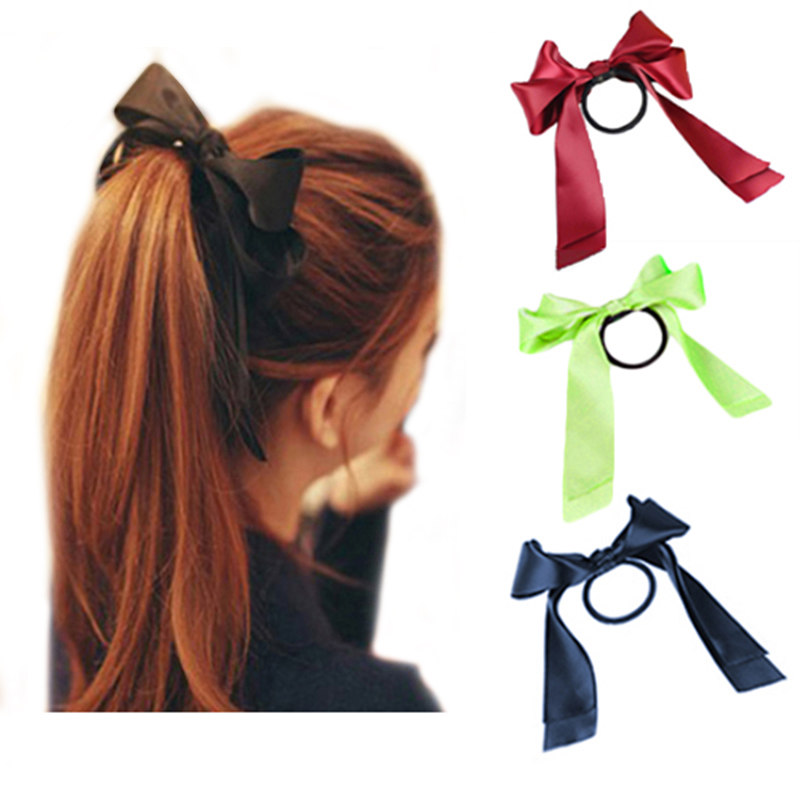 Christmas Hot Korean Fashion Women Hair Accessories Handmade Ribbon Bow Headhand Elastic Hairband Scrunchy Gum for Girls ...