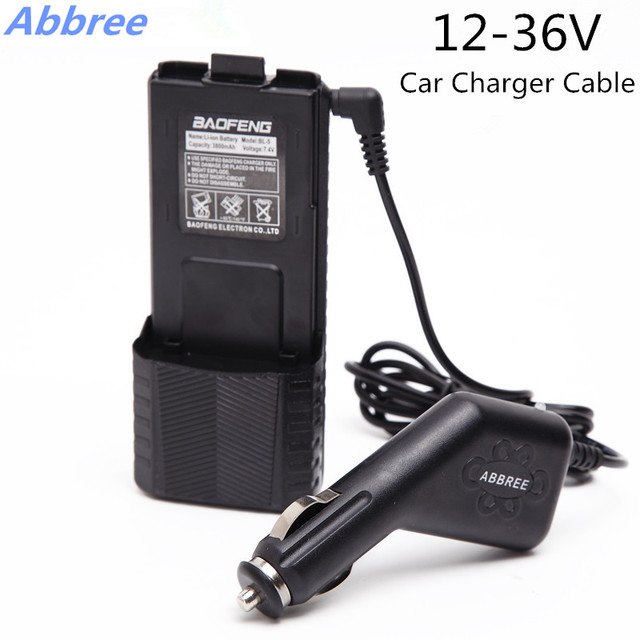Abbree 12-36v input 8.4v output 2.5mm car charger cable for baofeng walkie talkie uv-5r extended high capacity 3800mah battery