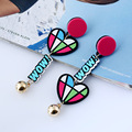 High-quality New Colorful Acrylic Statement Earrings Cute Heart Style Earring Lovely Jewelry for Fashion Women