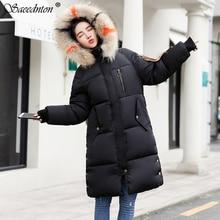 купить 2019 New Fashion Slim Women Winter Jacket Down Cotton Padded Warm Thicken Ladies Coat Long Coats Parka Womens Outwear Jackets по цене 2531 рублей
