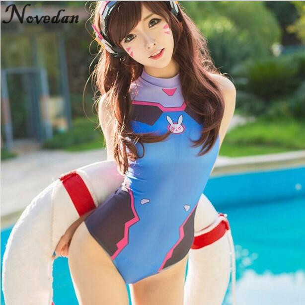 <font><b>Sexy</b></font> Game OW <font><b>D</b></font>.VA Cosplay Costume One Piece Swimwear Evangelion EVA Swimsuit SUKUMIZU <font><b>S</b></font>-XL image