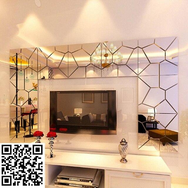 3D Acrylic Mirror Wall Sticker Home Decor Living Room DIY Modern ...