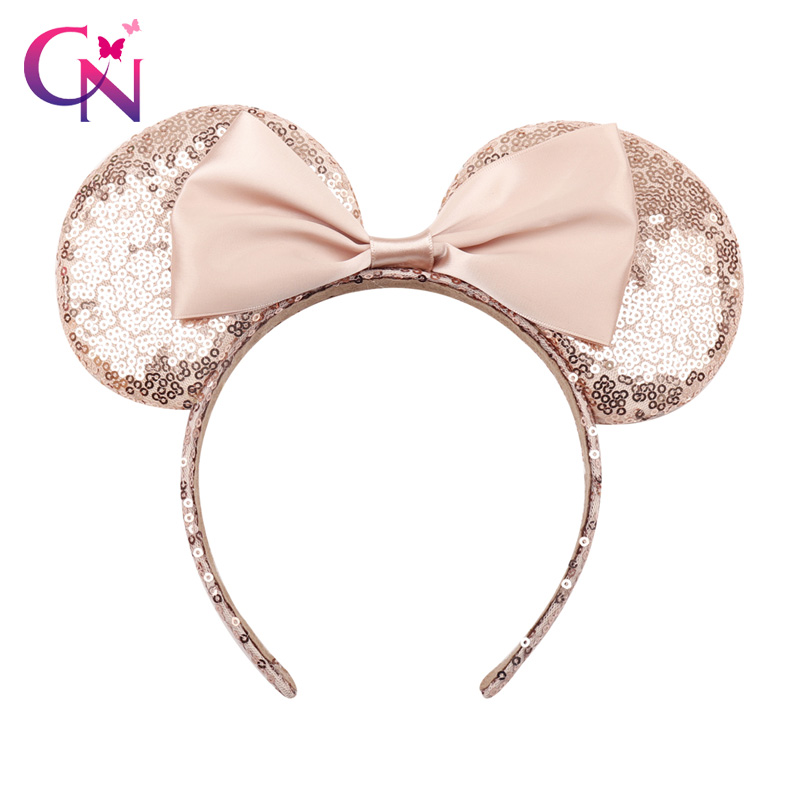 CN New Rose Gold Hair Sequins Mickey Minnie Mouse Ears Solid Black Headband Boy Birthday Party Celebration