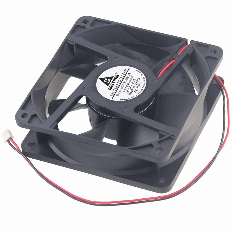 Gdstime 2 Pcs 12cm 24V Ball Bearing 120mm x 38mm 2 Pin 5 inch Large Wind DC CPU PC Case Cooling Fan 24 Volt gdstime 10 pcs 120mm x 25mm 4 pin pwm fg 4 wire dc 12v fluid bearing 12025 silent cooler 12cm cpu computer pc case cooling fan