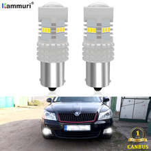 Canbus No Error 1156 P21W BA15S LED Bulb For Skoda Superb Octavia 2 FL 2009 2010 2011 2012 2013 LED DRL Daytime Running Lights 2 blanco p21w 50w led cree chips 1156 382 ba15s drl bombillas durante el drl luces de marcha atras indicadores for skoda vw audi