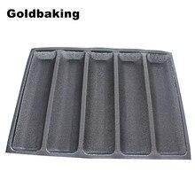 Силиконовая форма для хлеба Goldbaking, форма для французского хлеба, не прилипает, фотосковорода с 5 картриджами