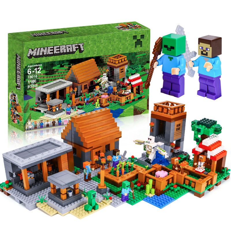 Lepin 18010 New 1106pcs My World Legoing Minecrafted Building Block My Village Bricks DIY Enlighten Brinquedos Gift Toys for Kid lepin 18010 my world 1106pcs compatible building block my village bricks diy enlighten brinquedos birthday gift toys kids 21128