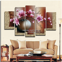 Peach Blossom Diy Diamond Painting Triptych Home Decorative Painting Resin Square Drill Rhinestone Unfinish Painting Flower