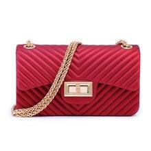 Summer V-pattern Frosted Jelly Bag For Women Chain Pvc Shoulder Crossbody Luxury Handbags Bags Designer Bolsa Feminina