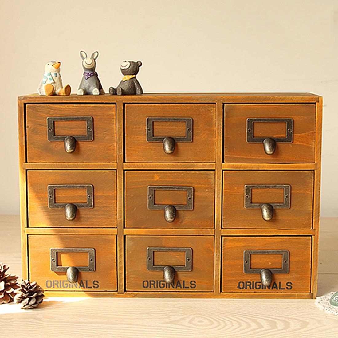 Retro Design Household Essentials 3 Level 9 Drawer Zakka Wooden ...