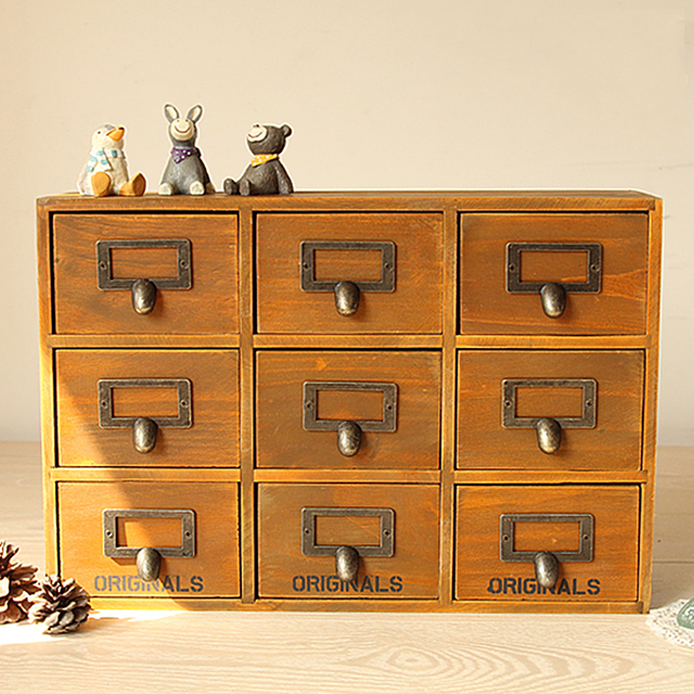 Retro Design Household Essentials 3 Level 9 Drawer Zakka Wooden