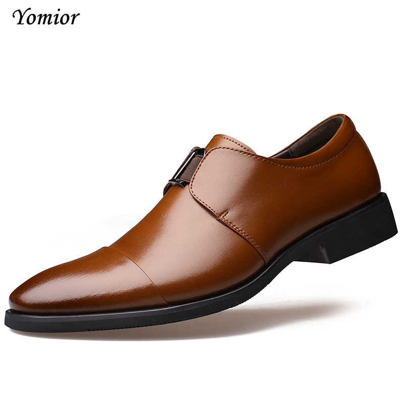 Yomior New Fashion Mens Shoes High Quality Business Oxfords Soft Leather Shoes for Man Dress Office Wedding Simple Slip-on Shoes top quality crocodile grain black oxfords mens dress shoes genuine leather business shoes mens formal wedding shoes