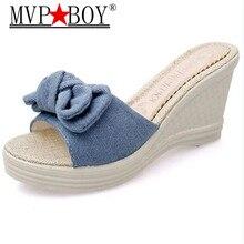 Mvp Boy Butterfly-knot Flip Flops Summer Shoes Slippers Women Platform Woman Wedges High Heels Pumps Eu Size 35-41