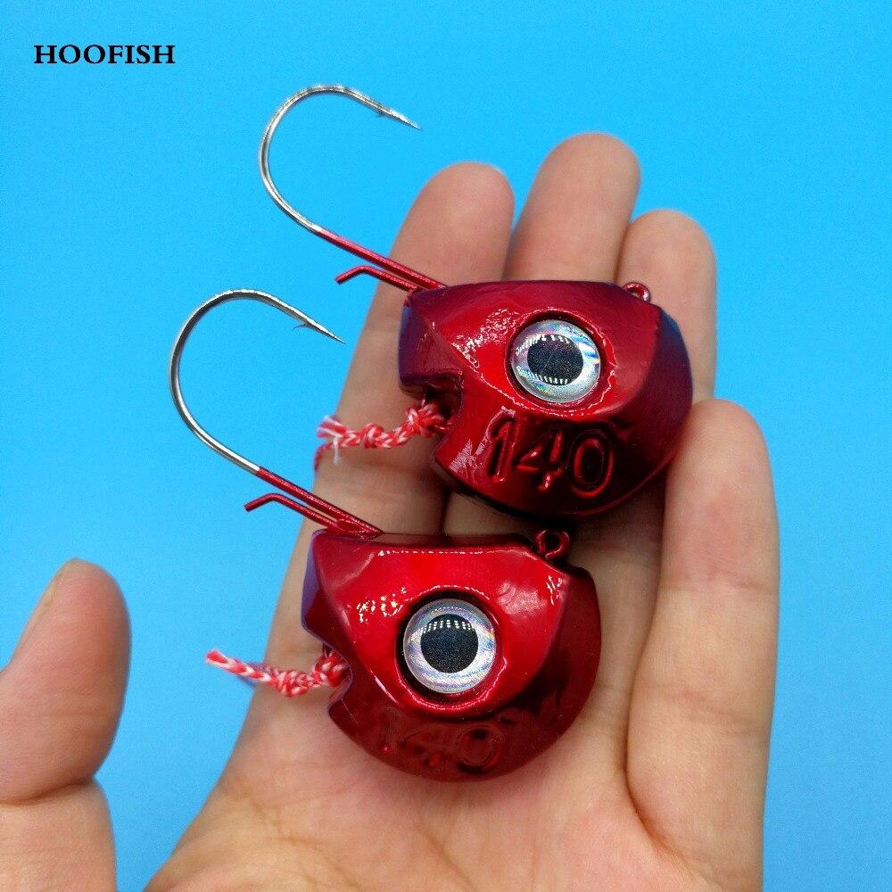 HOOFISH 2PCS/lot 140G Lead Head Jigs with Two Hooks jigging lure metal fishing lure Deep Sea Lure