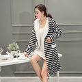women's stripe bathrobe simple style long robes for women comfortable homewear robe with hat home clothes for women