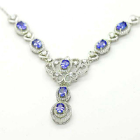2017 Collier Collares Qi Xuan_Fashion Jewelry_Blue Stone Necklaces_S925 Solid Silver Fashion Necklaces_Factory Directly Sales