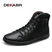 Fashion Casual Men Boots Plus Velvet Genuine Leather Quality Brand Snow Boots Winter Autumn Ankle Martin