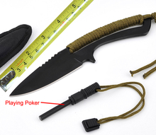 GAOGAODI Playing Poker Tactical Hunting Knife Fixed Stainless Steel Small Straight Knife Survival Knife