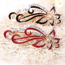 купить 1PC Fashion Women Girls  jewelry Five-leaf flower crystal Crystal Rhinestone Barrette Hairpin Headwear Hair Clip дешево