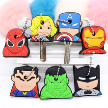 цена Cartoon super hero batman spider man silicone key covers anime keychain funny cute mickey kitty animal key cover key caps