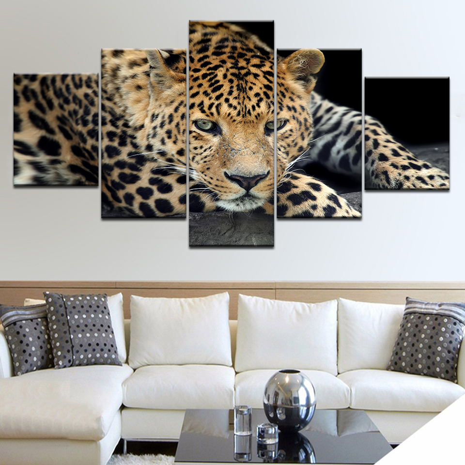 5 Panel pieces HD Print leopard live animal wall posters Canvas Art Painting For home living room decoration in Painting Calligraphy from Home Garden