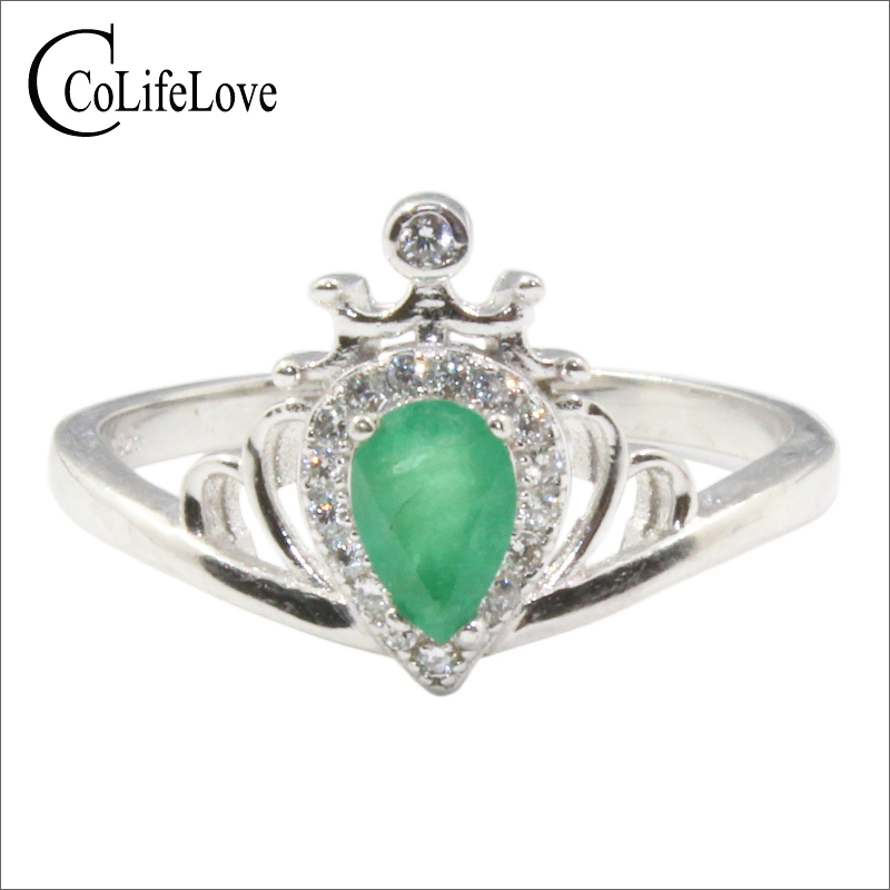 Classic natural I grade emerald crown ring for little girl 4mm*6mm pear cut emerald silver crown ring 925 silver emerald jewelry queen s day the netherlands gifts
