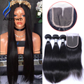 Alicrown Peruvian Virgin Human Hair Straight Lace Closure With 3 Bundles Straight Hair With Middle Free Three Part Lace Closure