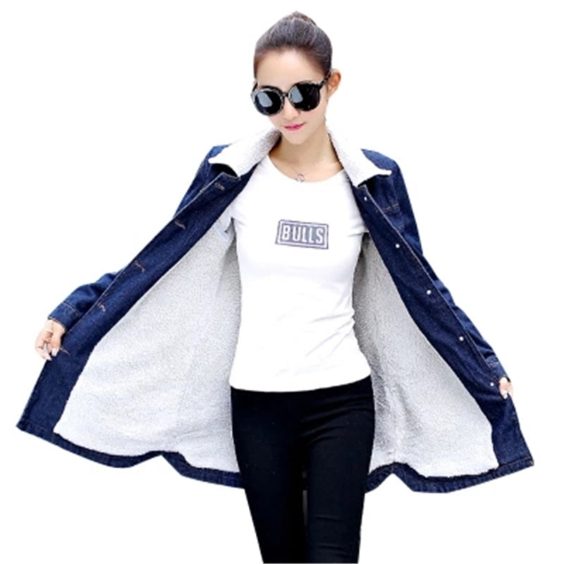 Plus Size 5XL Winter Thickened Denim Jackets Slim Cashmere Lamb Wool Warm Cotton Coats Women Casual