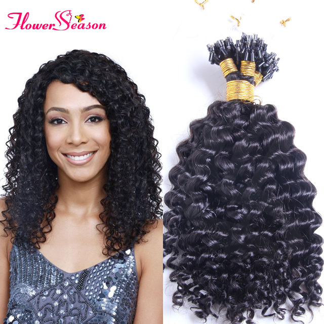 Natural Curly Brazilian Micro Ring Loop Hair Extensions 1g Beads