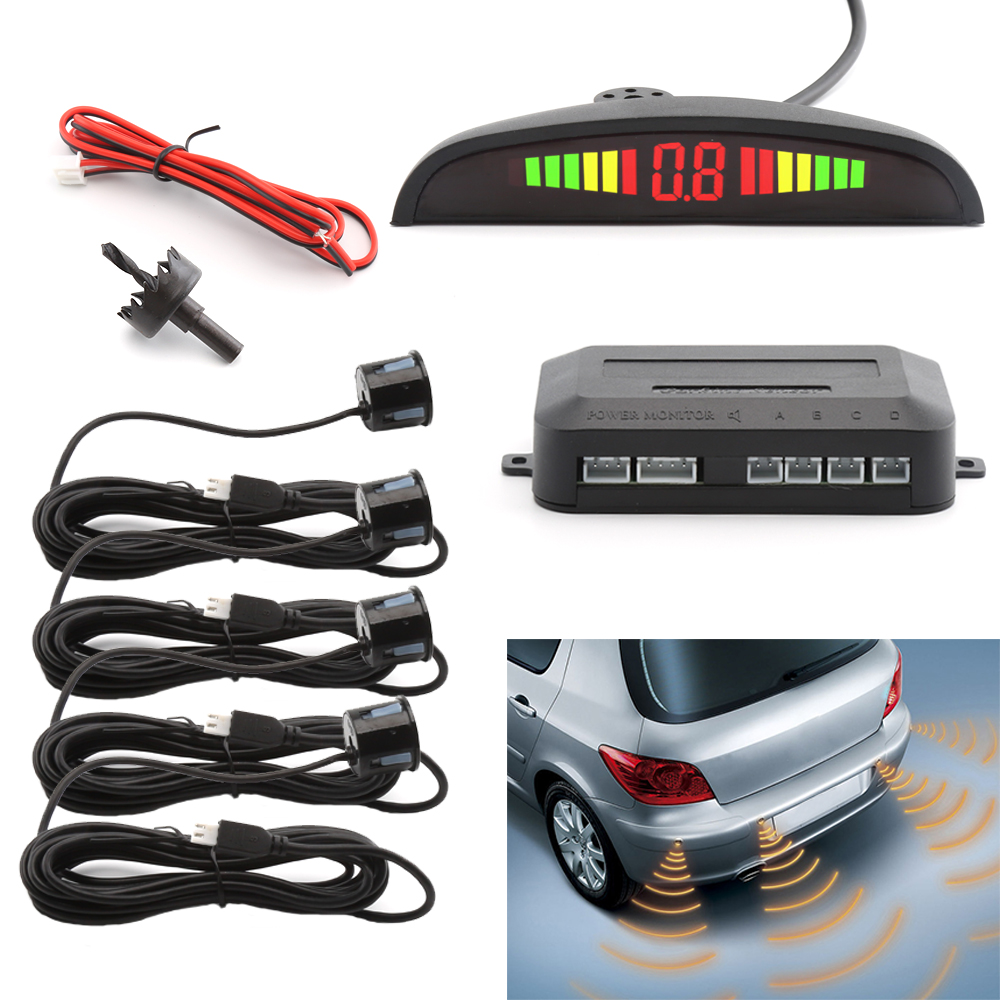 4 Sensors Buzzer Car Parking Sensor Kit Reverse Backup Radar Sound Alert Indicator Probe System 12V Auto Parktronic