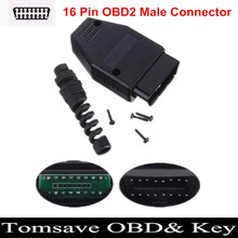 Free Shipping 16Pin OBD2 OBDII Male Connector OBD 16Pin Plug Adapter Wiring Connector Diagnostic Tool