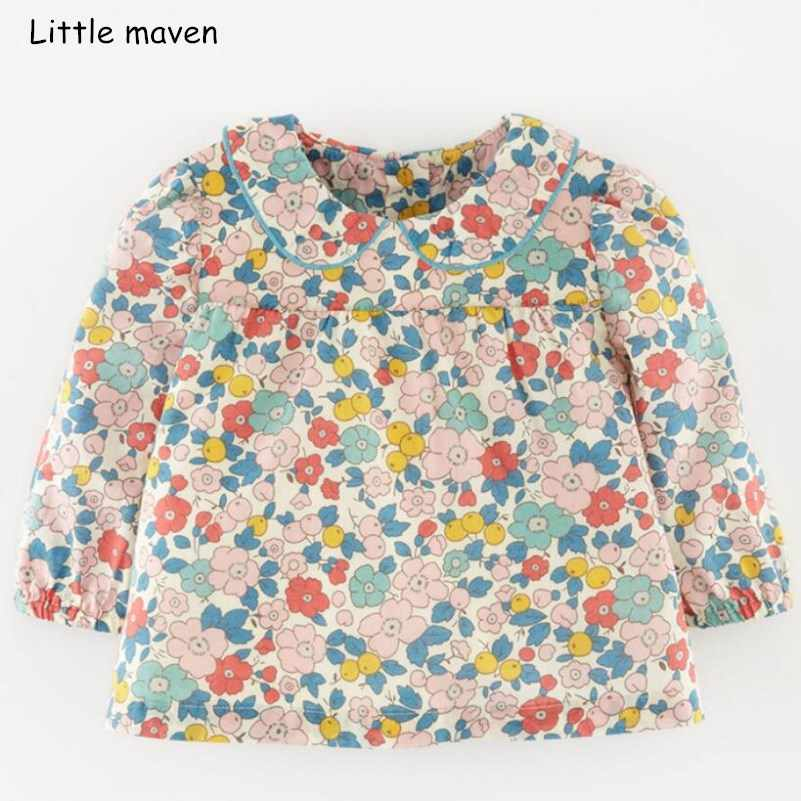 Little maven children brand baby girl clothes 2018 autumn new design girls cotton tops floral print t shirt 51239