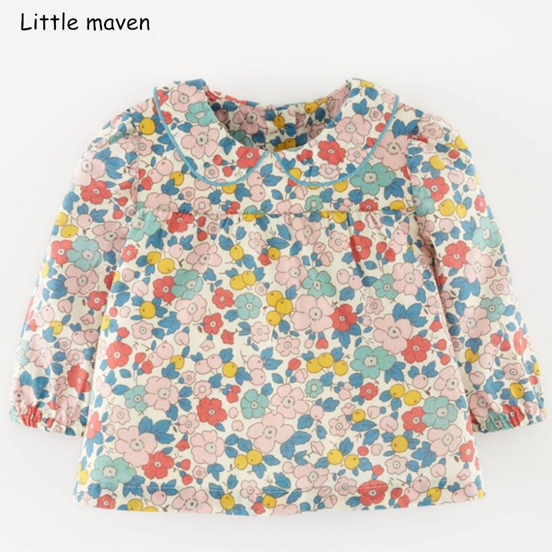 Little maven children brand baby girl clothes 2018 autumn new design girls cotton tops floral print t shirt 51239 каша молочная малютка мультизлаковая с фруктами с 6 мес 220 г