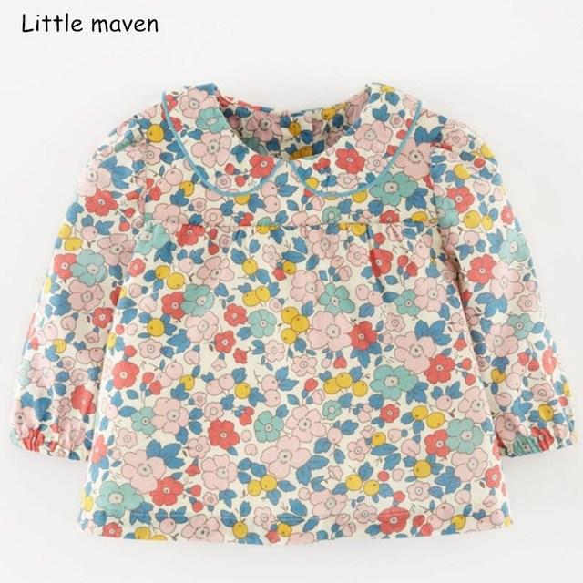 61cc5d267d0b4 Little maven children brand baby girl clothes 2018 autumn new design girls  cotton tops floral print t shirt 51239