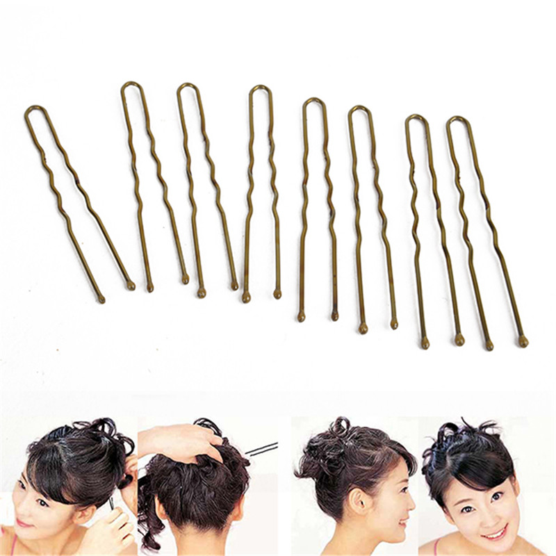300pcs Professional Hair Wavy U-shaped Clip Pins Gold U Hair Clips For Hairdressing Styling Tools flower shaped hair clip