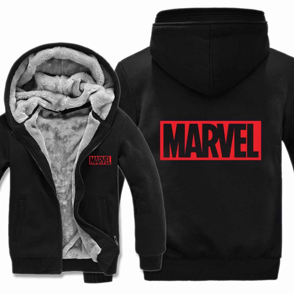 Fashion Captain America Marvel Hoodies Jacket Winter Men Casual Thick Fleece Pullover Man Coat Marvel Sweatshirts