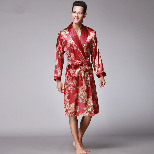 26071b372d Luxury Chinese King Dragon Men Robe Print Satin Silk Pajamas kimono Long Bathrobe  For Men Plus Size 3XL Home Wear Clothing