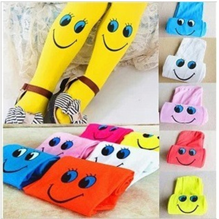 2016 Autumn Velvet Lovely Smiley Face High Elasticity Good Quality Kids Tights For Girls Children Tights 3-7 Year Girls Tights