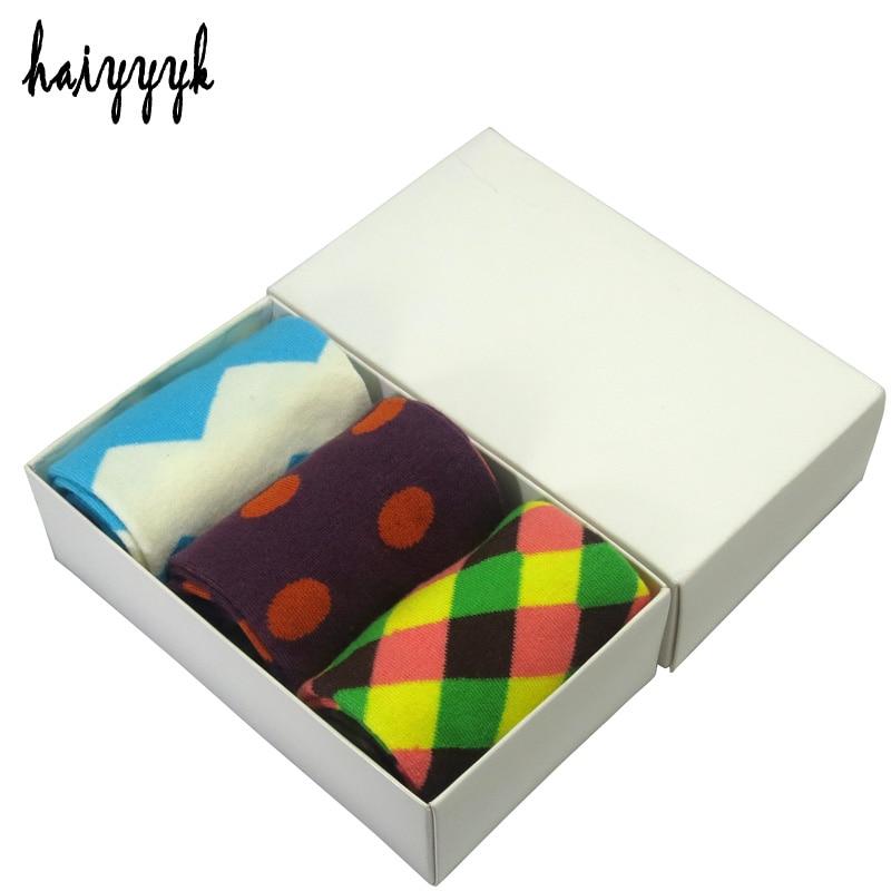 New combed cotton brand crew socks fashion colorful dress socks men happy socks size US 6-10 3 pairs / lot socks wholesalers