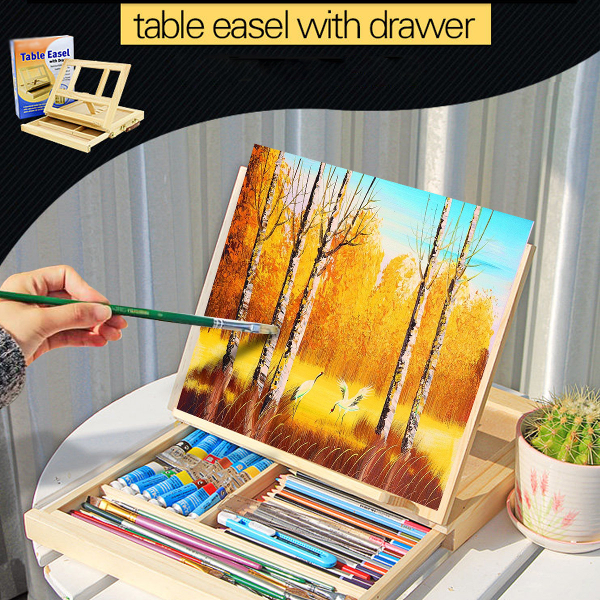 Réglable artiste chevalet dessin peinture bois Table esquisse boîte conseil bureau peinture fournitures chevalets accessoires